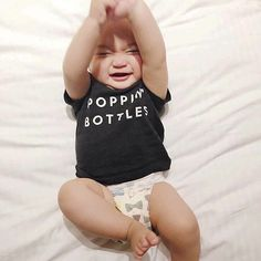 'Poppin' Bottles' super soft cotton baby tee for gettin' (milk) tipsy @thehouseofbees