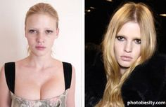 Famous models with and without hair and makeup