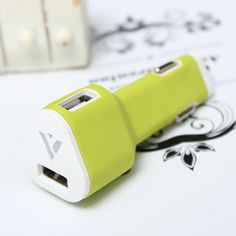 Mini 5V 2.4A Dual USB Port Car Charger Adapter For Tablet Cellphone