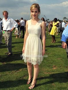 Watson in a Charles Anastase dress at the Cartier International Polo Match at Guards Polo Club in England, 2008.