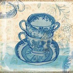 blue willow pattern tea cups 7x7 art print by lovelysweetwilliam, $25.00