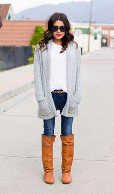 Sweater and Cognac Knee Highs