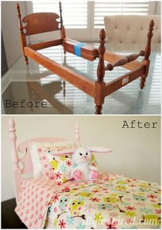 Thrift Store Doll Bed Before and After - Full Tutorial