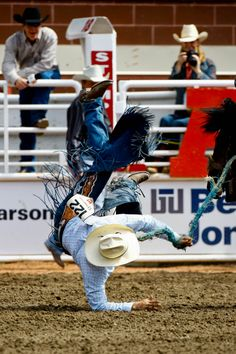 CATCH ME IF YOU CAN.  A cowboy is tossed to the ground by a bucking horse - Saddle Bronc Riding - Calgary Stampede - Calgary, Canada.