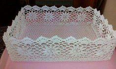 , Crochet Home, Crochet Gifts, Framed Doilies, Crochet Basket Tutorial, Doily Art, Diy And Crafts, Arts And Crafts, Crochet Storage, Crochet Decoration