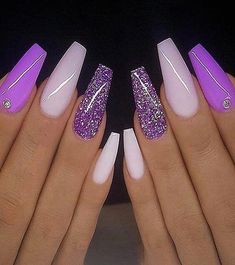 In the Modern year every young girls and celebrity ladies want to improve the beauty of finger. That's why here we have compiled some Fresh Ideas of Nail Art Designs for you. You just need to browse here and must try out this trendy style and get the Purple Acrylic Nails, Summer Acrylic Nails, Best Acrylic Nails, Purple Nails, Summer Nails, Cute Spring Nails, Pastel Nails, Purple Glitter, Nail Art Designs Images