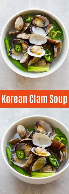 Korean Clam Soup - Rasa Malaysia - Korean Clam Soup - savory and briny clam soup with jalapeno and garlic. Easy recipe that takes only 10 minutes to make and so delicious Clams Recipe Asian, Clams Soup Recipe, Korean Soup Recipes, Clam Recipes, Chili Recipes, Asian Recipes, Ethnic Recipes, Ww Recipes, Recipes
