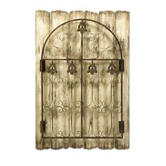 Evans Iron Garden Gate - Shabby chic meets cottage comfort with the Evans Iron Garden Gate wall decor. This cast iron gate in rust patina is mounted to antiqued wooden pickets, creating a charming accent perfect for a garden room or cottage kitchen.