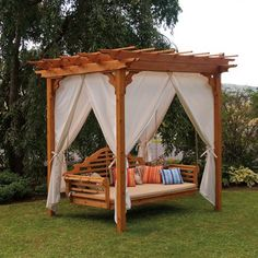 The Traditional English Pergola and swing bed will be stunning in your backyard oasis. Pergola measures x Also available in x and x and several stain colors. Cedar Pergola, Outdoor Pergola, Backyard Pergola, Outdoor Decor, Modern Pergola, Outdoor Swing With Canopy, Outdoor Ideas, Outdoor Futon, Outdoor Living