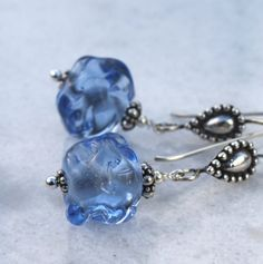 Dangle Ice Blue Glass and Sterling Silver by MarianneDegener