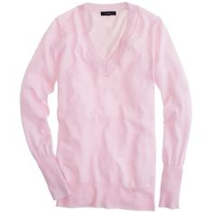 J.Crew Merino V-neck sweater ($60) ❤ liked on Polyvore featuring tops, sweaters, slim v neck sweater, slim fit v neck sweater, v-neck sweater, long sleeve sweaters and pink sweater