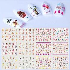 2018 Summer New Nail Sticker Water Transfer Decal Fruit Flower Ice Cre – eefury Nail Decals, Nail Stickers, Ice Cream Cartoon, Manicure, Nails, Nail Decorations, Fruit, Sliders, Nail Colors