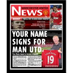 Manchester United Gifts, Manchester United Legends, Newspaper Front Pages, Sir Alex Ferguson, Soccer Gifts, Soccer Fans, Name Signs, Gifts For Boys, Competition