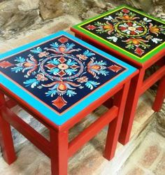 conjunto banquinhos - antiquário atelier colorido