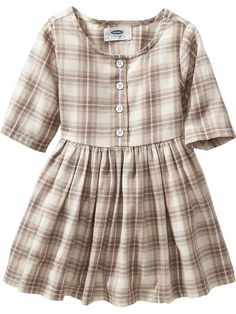 Old Navy fall fashion for toddler girl. Plaid Fit & Flare Twill Dress