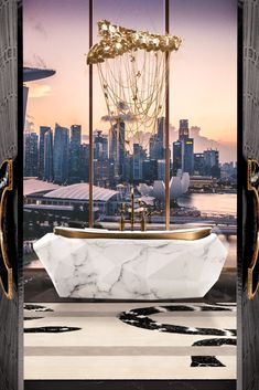 Elegant, unique, and utterly astounding, The Diamond Bathtub in Carrara Faux-Marble brings an amazing ambiance to this intensely unique bathroom. With the perfect lighting, the Imperial Snake Rug, and a fiercely dazzling view of the Australian landscape, this is an ambiance for the ages that will leave anyone in absolute awe!