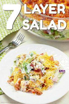 This 7 Layer Salad is the perfect addition to any meal or. This 7 Layer Salad is the perfect addition to any meal or potluck. With layers of veggies a tangy dressing cheese and bacon this will be a new favorite! via Love Bakes Good Cakes Side Dish Recipes, Veggie Recipes, New Recipes, Salad Recipes, Dinner Recipes, Cooking Recipes, Favorite Recipes, Veggie Food, Cooking Tips