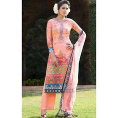 Peach Digital Printed Cotton Silk Palazzo Suit
