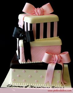Baby Shower Pink Gift Box Cake by Pink Cake Box in Denville, NJ.  More photos at http://blog.pinkcakebox.com/baby-shower-pink-gift-box-cake-2010-01-05.htm  #cakes