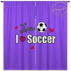 Soccer Curtains - Can be Personalized with name - Soccer Ball Themed Bedroom Decor - Kids Bedroom Curtain - Custom Size Window Panels #417 by EloquentInnovations on Etsy