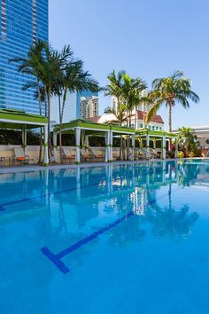 Conrad Miami - Miami, Florida - The swanky rooftop pool and tennis courts have panoramic views of Biscayne Bay.