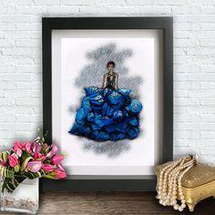 Fashion Wall Art Blue Watercolor Girl от ArtBoutiqueButterfly