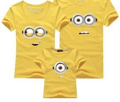 Family Matching Outfits Mother Daughter Son Father Short Sleeve Cartoon Minions Fashion Cotton T Shirt Family Look Plus Size Couple Outfits, Matching Family Outfits, Kids Outfits, Matching Clothes, Couple Clothes, Cartoon Outfits, Minion Outfit, Minion Shirts, Clothing Studio