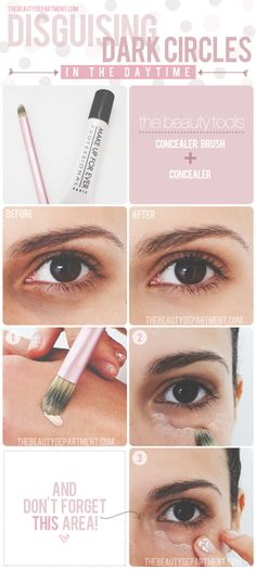 "In the harsh lighting of daytime, leave the bottom lids and any under-eye ""bags"" bare and only cover the darkness directly below them!"