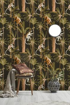 Mind The Gap Wallpaper Collection - Barbados Anthracite at Rose & Grey. Buy online now from Rose & Grey, eclectic home accessories and stylish furniture for vintage and modern living Mind The Gap, Monkey Wallpaper, Print Wallpaper, Animal Wallpaper, Wallpaper Stores, Wallpaper Samples, Wallpaper Online, Wallpaper Ideas, Kids Wallpaper