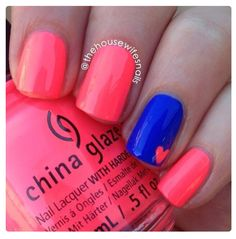 Image viaLatest 45 Easy Nail Art Designs for Short Nails viaScotch Tape is Your Frien Simple Nail Art Designs, Cute Nail Designs, Easy Nail Art, Easy Nail Polish Designs, Neon Nails, Diy Nails, Cute Nails, Trendy Nails, Beauty Nails