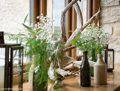 Bristol florists, The Wilde Bunch styling weddings at Kingscote Barn. Barn Wedding Flowers, Kingscote Barn, Come Dine With Me, Antique Bottles, Florists, Driftwood, Bristol, Countryside, Floral Arrangements