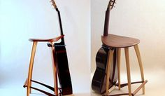 Funky Guitar Stand Stool | Guitarists often enjoy perching on the nearest available armless seat and strumming a few chords when the mood strikes. With this Funky Guitar Stand Stool, you can keep your favorite instrument handy next to the perfect seat for those times when you feel like playing a tune.