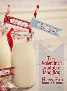 Free Valentine's Day Printable Straw Flags ♥ Fleece Fun