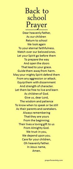 Back to school prayer Let the Spirit of the Lord go before them. A back to school prayer to start the year off right. Prayer Times, Prayer Scriptures, Bible Prayers, Faith Prayer, God Prayer, Prayer Quotes, Bible Quotes, Prayer Room, Prayer Of Praise