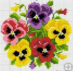 ~ multiple pansies for peg board (or cross stitch). ~ multiple pansies for peg board (or cross stitch). Simple Cross Stitch, Cross Stitch Rose, Cross Stitch Flowers, Cross Stitching, Cross Stitch Embroidery, Embroidery Patterns, Hand Embroidery, Cross Stitch Designs, Cross Stitch Patterns