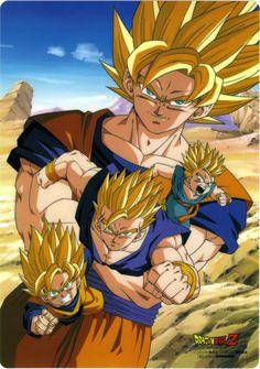 SSJ Goku, Goten, Gohan, and Trunks