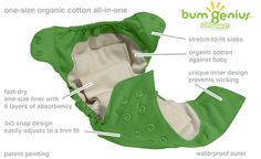 My favourite diaper!  Bumgenius elemental diaper.  One size, organic, all in one features.  #sealedwithapin @Diaper Junction Cloth Diapers