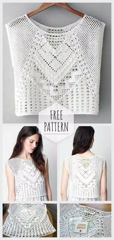 Ideas Crochet Lace Pattern Free Ganchillo For 2019 Moda Crochet, Pull Crochet, Knit Crochet, Crochet Summer, Crochet Shawl, Crochet Tops, Simple Crochet, Knit Tops, Crochet Woman