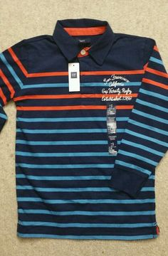 GapKids Boys Striped Polo S (6-7) Size NWT Long Sleeve Tee T-Shirt  MSRP $29.99…