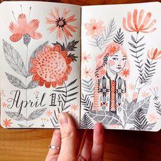 Abigail Halpin #art #journal #sketchbook #moleskine #girl #floral #botanical