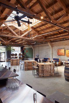 by Martinkovic Milford Architects Urban Interior Design, Coffee Shop Interior Design, Restaurant Interior Design, Cafe Design, Design Urban, Modern Restaurant, Interior Designing, Barn Cafe, Rustic Cafe