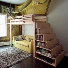 loft bed bookshelf stairs