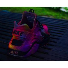 NEON Nike Huarache Customs (£130) ❤ liked on Polyvore