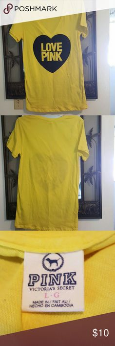 PINK tee shirt, large Yellow with LOVE PINK on it, by PINK.  In excellent to new condition. PINK Victoria's Secret Tops Tees - Short Sleeve