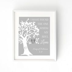 Whom My Heart Loves - 8x10 and 5x7 Print | Wall Art | Premium Cotton or Heavy Weight Cardstock | Song of Solomon 3:4 | Birds in Tree Print