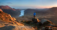 Slieve Doan, Northern Ireland. From the summit of Doan the setting sun illuminates the scene overlooking the Silent Valley reservoir in the Mourn mountains. ©Stephen Emerson
