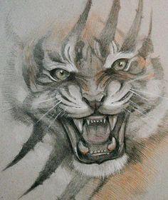 Эскиз тату с оскалом тигра и шрамом