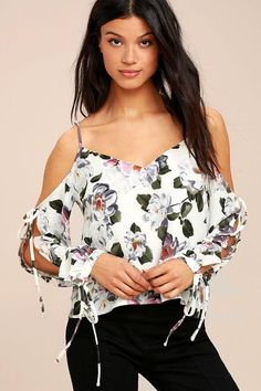 Lulus - Lulus Flourishing Flowers Ivory Floral Print Off-the-Shoulder Top - AdoreWe.com