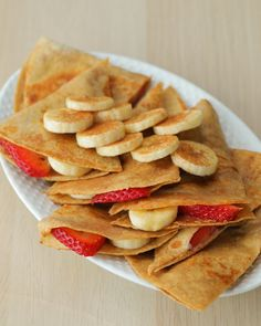 quesadilla recipes Peanut Butter, Strawberry, And Banana Quesadilla Recipe by Tasty Breakfast Quesadilla, Quesadilla Recipes, Breakfast Tortilla, Healthy Quesadilla, Gourmet Recipes, Appetizer Recipes, Dessert Recipes, Cooking Recipes, Healthy Snack Foods