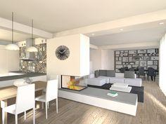 #flaviabenigniarchitetto #living #openspace #loftstyle #kitchen #camino #trifacciale